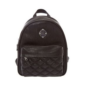 Faux leather quilted midi backpack.